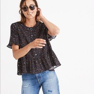 Madewell Studio Ruffle-Hem Top in Starry Night